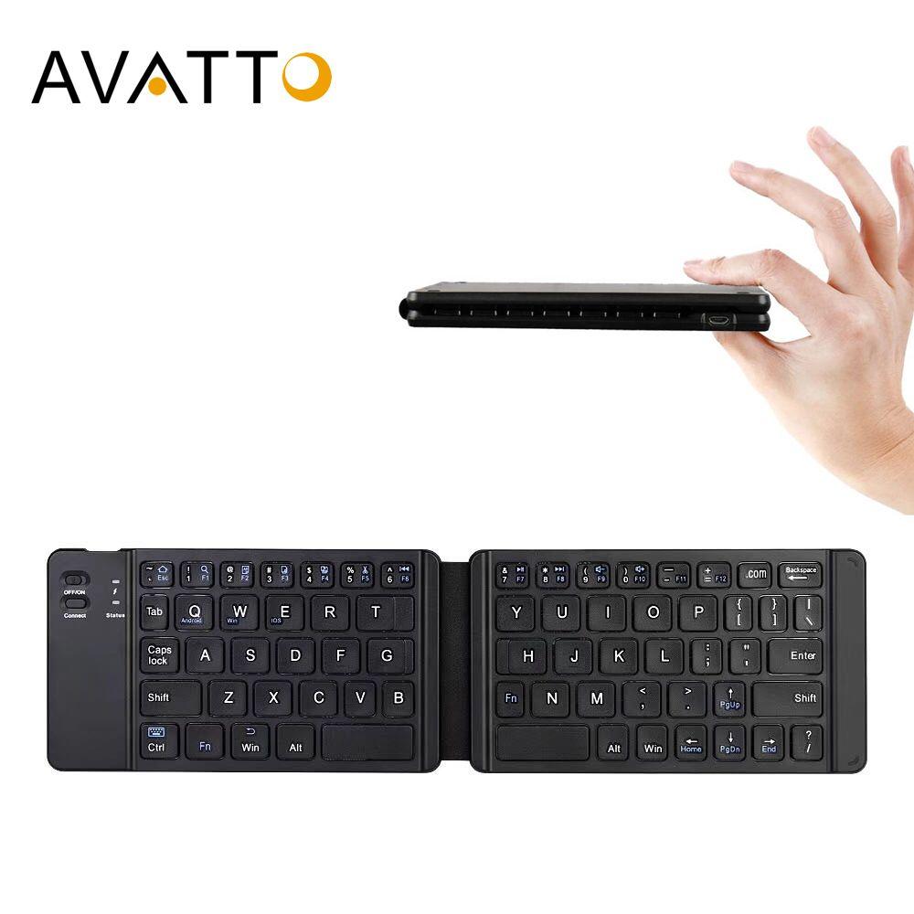 Clavier pliant Bluetooth russe/anglais léger AVATTO, clavier sans fil pliable pour tablette IOS/Android/Windows ipad