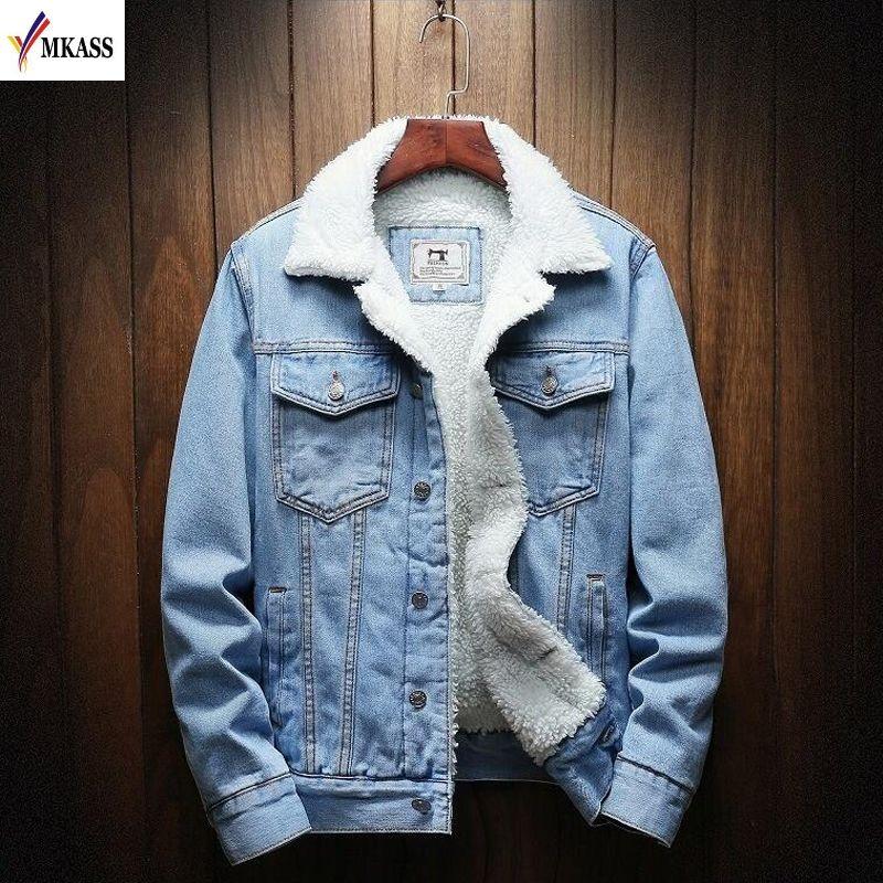 MKASS Männer Jacke Und Mantel Trendy Warme Fleece Denim Jacke 2019 Winter Mode Herren Jean Jacke Outwear Männlichen Cowboy Plus größe 6XL
