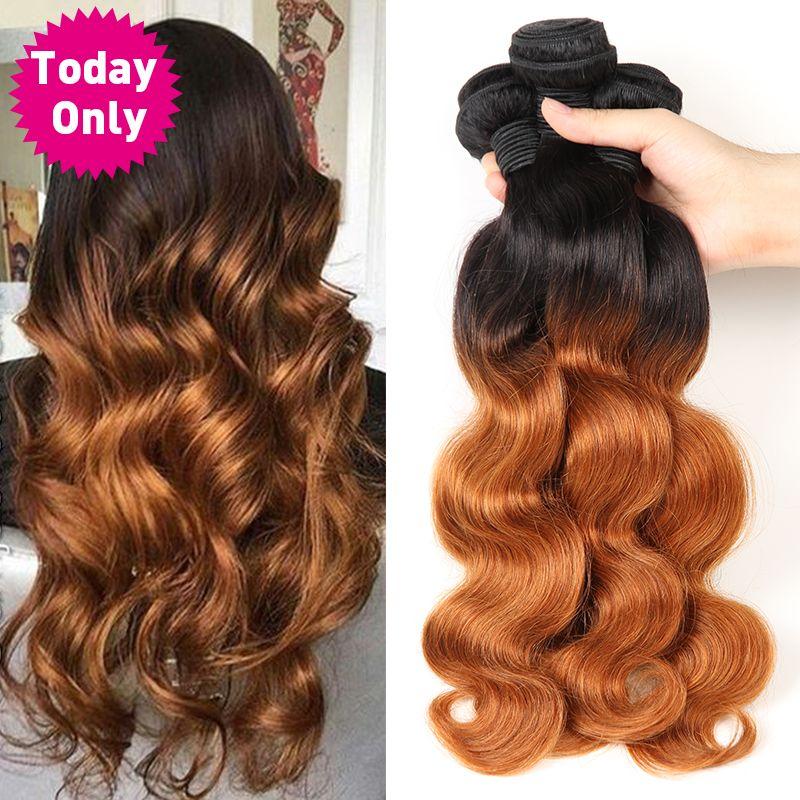 Aujourd'hui, seulement 1 3 4 paquets de vague de corps paquets de cheveux Ombre paquets de cheveux brésiliens armure de cheveux paquets Remy Extensions de cheveux humains