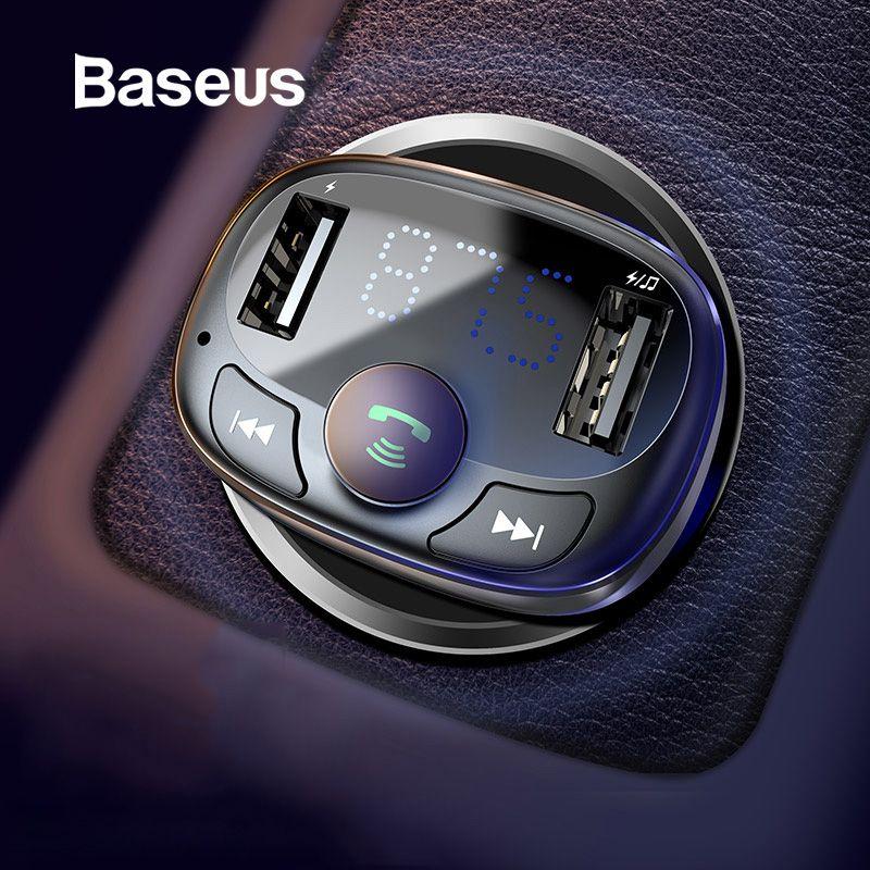 Chargeur de voiture Baseus pour iPhone téléphone portable mains libres transmetteur FM Kit de voiture Bluetooth lecteur MP3 LCD double USB chargeur de téléphone de voiture