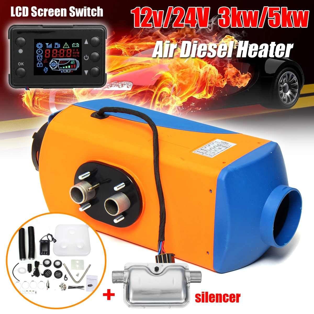 KROAK 3KW/5KW 12 V/24 V Auto Heizung LCD Bildschirm Schalter 10L Tank Diesel Air Parken Heizung winter Wärmer mit Schalldämpfer Für RV Lkw