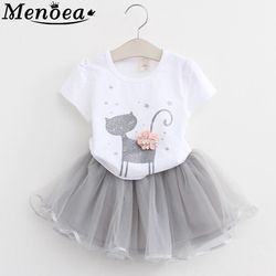 Girls Dress 2019 Girl Clothes Summer Style Cat Cartoon Cute Little White Cartoon Dress Kitten Printed Kids Dresses