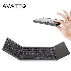 [AVATTO] B033 Portable Twice Folding Bluetooth Keyboard BT Wireless Foldable Touchpad Keypad for IOS/Android/Windows ipad Tablet
