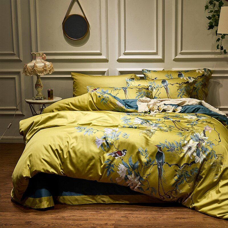Gelb Seidige Ägyptischer baumwolle Chinoiserie stil Vögel Anlage Bettbezug bettlaken Ausgestattet blatt set König Königin Größe Bettwäsche Set