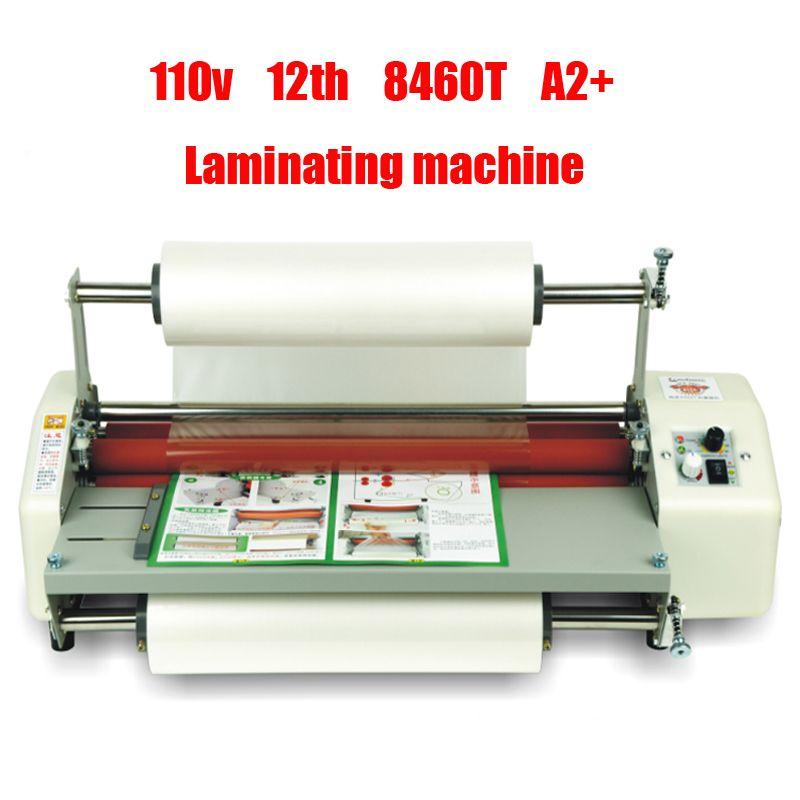 110 v/220 v 12th 8460T A2 + Vier roller Laminieren Maschine Heißer Walzwerk Roller, kalt laminator Roll Maschine film Laminator