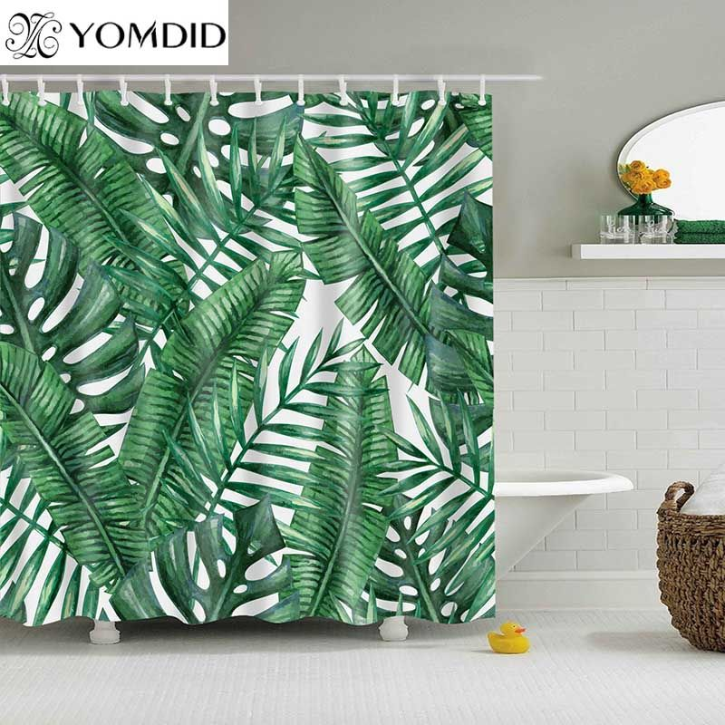 Vert plantes tropicales rideau de douche salle de bain imperméable Polyester rideau de douche feuilles impression rideaux pour salle de bain douche