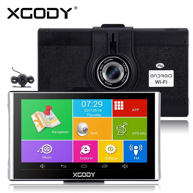 Xgody 7 pouces Android Gps Dvrs Navigation de voiture 512M 8 GB/16 GB navigateur avec Wifi 1080p Dash caméra enregistreur vidéo Fm AVIN Dashcam