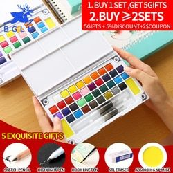 High Quality Professional Solid Pigment Watercolor Paints Set With Water Color Portable Brush Pen For Painting Art Supplies