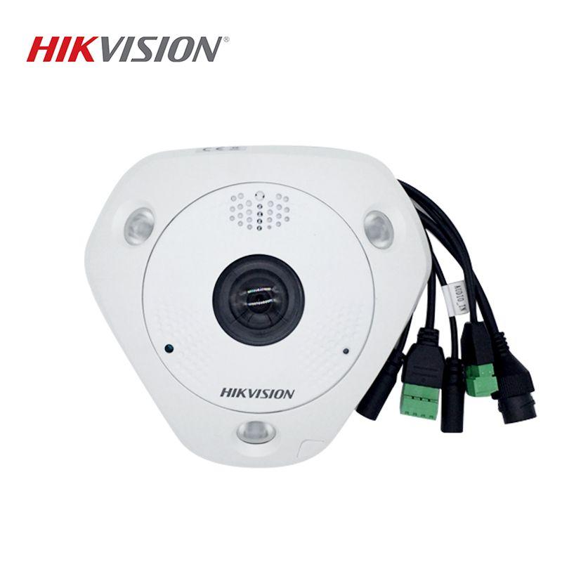 HIKVISION DS-2CD63C2F-IVS Chinesische Version 12MP Fisheye Ansicht IP Kamera Unterstützung Außen Mikrofon ONVIF SD Karte PoE IR