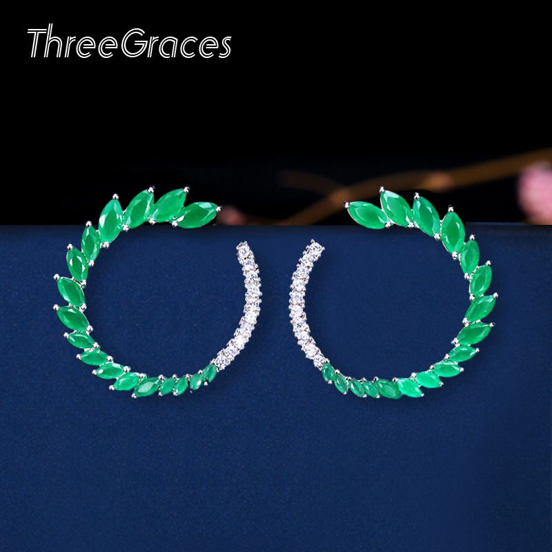 Trois grâces femmes américaines et européennes mariage cristal vert naturel mélange pierre CZ ouvert rond grandes boucles d'oreilles pour mariée ER264