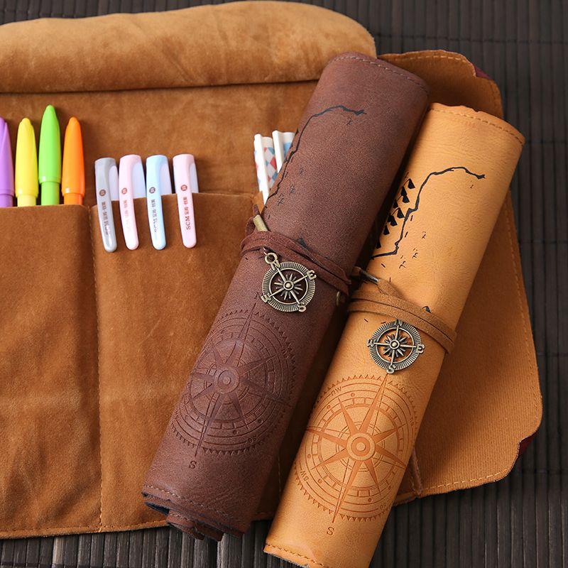 Rétro boussole rouleau porte-crayon en cuir carte au trésor boîte à crayons de rangement étui à crayons pour garçons filles stylo rideaux fournitures scolaires
