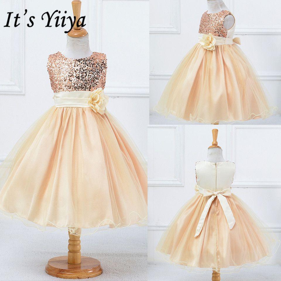 C'est YiiYa fleur fille robe 2019 fleurs première Communion robes pour filles élégant o-cou paillettes de noël robes de bal L067