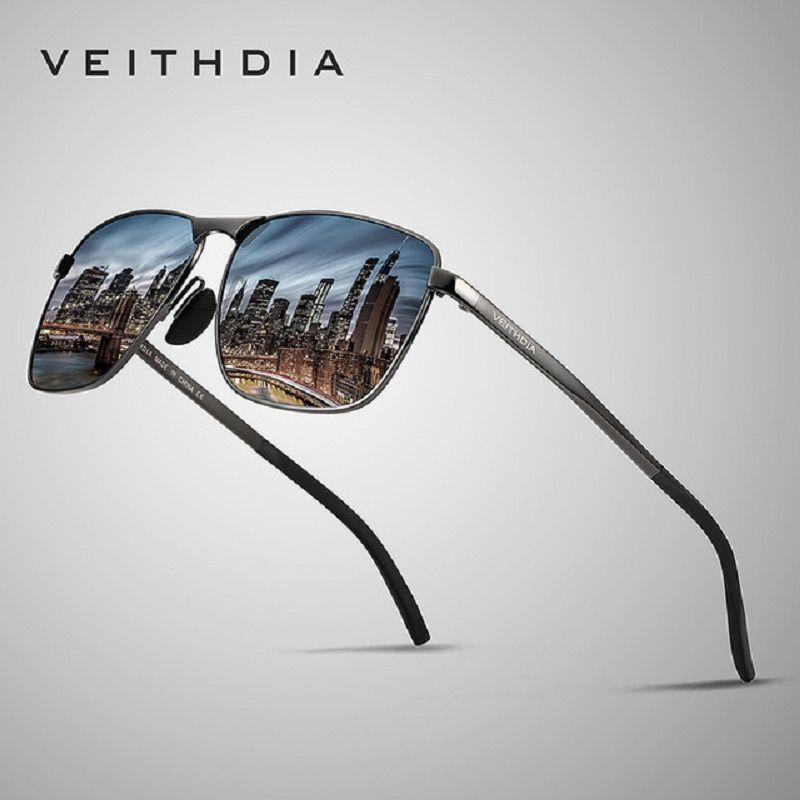 VEITHDIA marque hommes Vintage carré lunettes de soleil polarisées UV400 lentille accessoires lunettes hommes lunettes de soleil pour hommes/femmes V2462