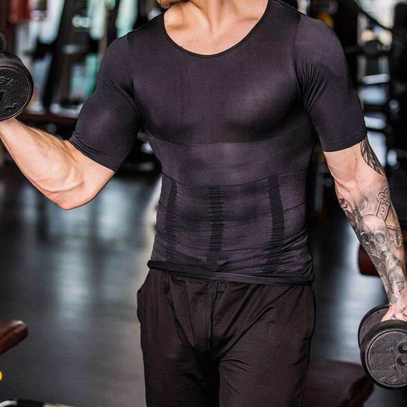 2019 Men Body Shapers Tight Skinny Sleeveless Shirt Fitness Elastic Beauty Abdomen Tank Tops Shape Vests Slimming Boobs Gym Vest