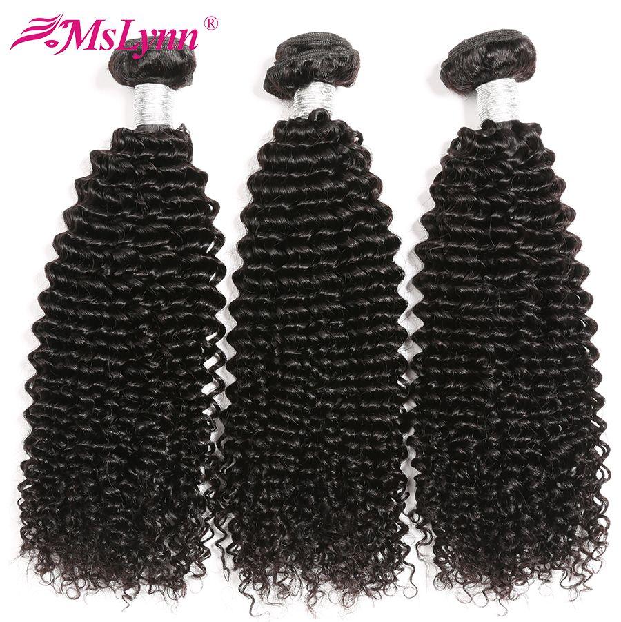 Afro crépus bouclés cheveux brésiliens armure de cheveux paquets de tissage de cheveux humains 4 ou 3 paquets naturel noir Mslynn Remy cheveux