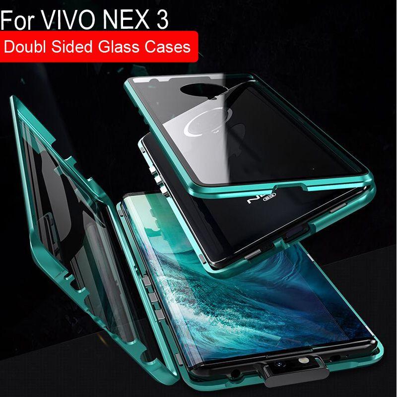 Luxus Magnetische Adsorption Fall Für VIVO NEX 3 Metall Rahmen Doubl Seitige Glas Abdeckung Für VIVO NEX 3 Schutzhülle Telefon fall nex3