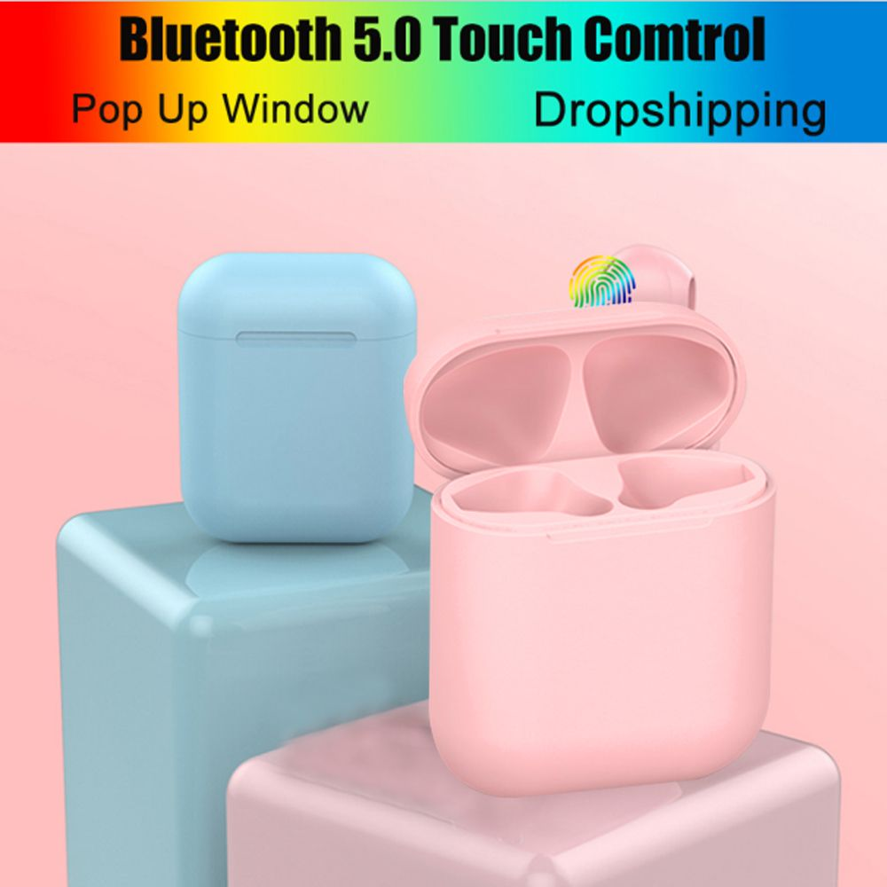 New Matte I12 Pink TWS 5.0 Pop up Earphones Wireless Bluetooth Earbuds Original I12TWS Headphones for Android All Smart Phones