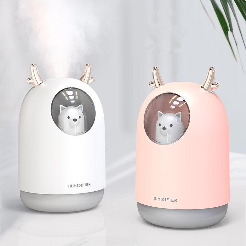 Appareils ménagers USB humidificateur 300ml mignon Pet ultrasons brume fraîche arôme Air huile diffuseur romantique couleur lampe à LED Humidificador