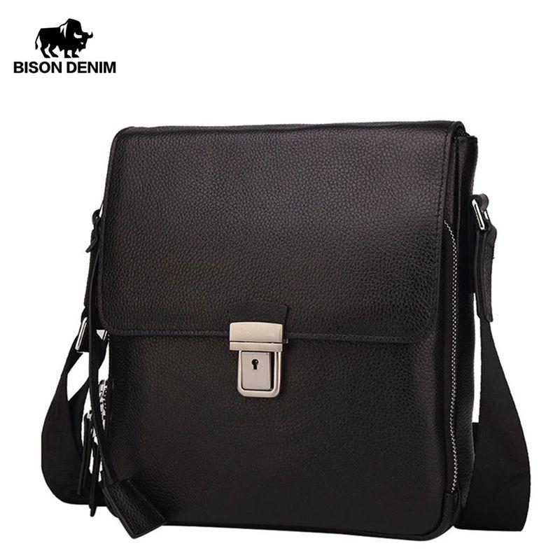 BISON DENIM en cuir véritable sac pour hommes marque noir affaires homme Messenger sacs homme bandoulière sacs pour hommes ipad N2531