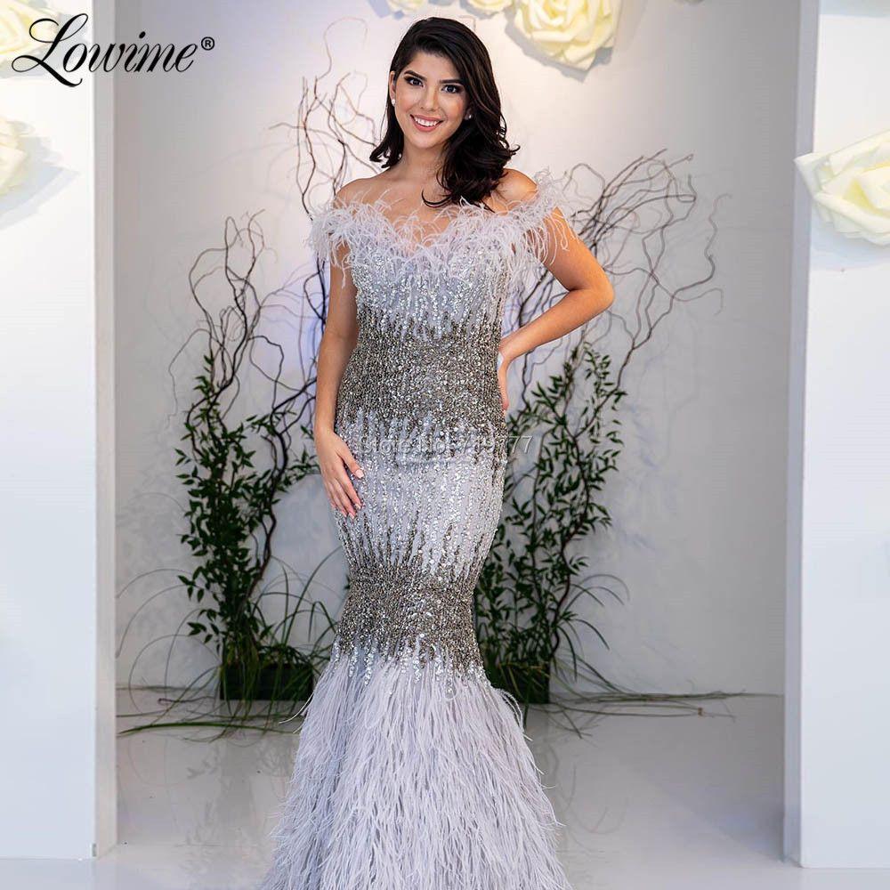 Luxus Feder Abendkleid Abendkleider 2019 Off Schulter Meerjungfrau Marokkanischen Party Kleid Arabisch Nahen Osten Perlen Prom Kleider