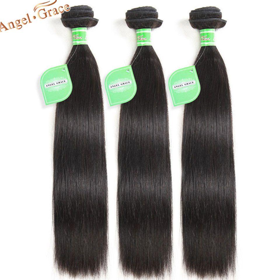 Angel Grace cheveux brésiliens cheveux raides paquets 1/3/4 paquets traiter 100% cheveux humains armure paquets Remy Extensions de cheveux 8
