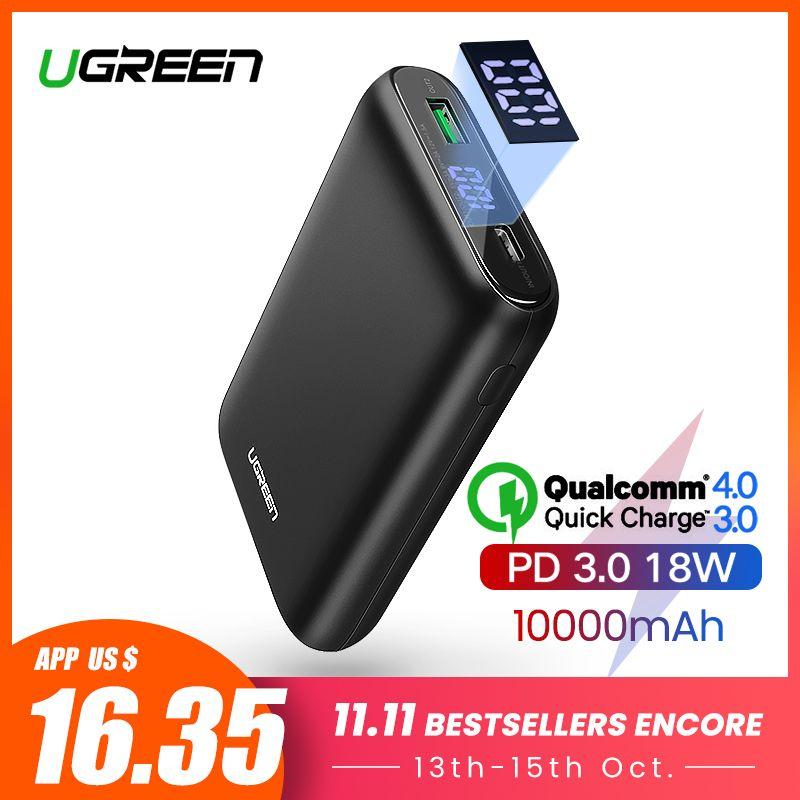 Ugreen batterie externe 10000mAh Charge rapide 4.0 3.0 QC3.0 batterie Mobile externe rapide PD chargeur pour iPhone 11 8 Xs Mini Powerbank