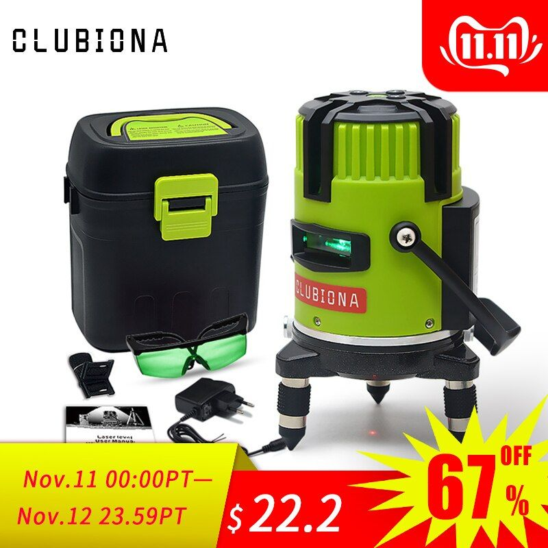 CLUBIONA green and red beam line 360 degrees rotary outdoor mode - receiver and tilt slash available auto line laser level