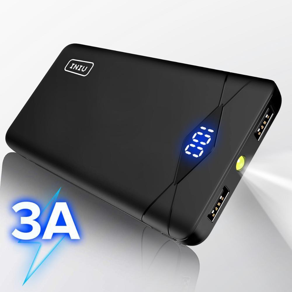 INIU 3A 10000mAh LED Power Bank Dual USB Portable Charger Powerbank For iPhone Xiaomi Mi Phone External Battery Pack Poverbank