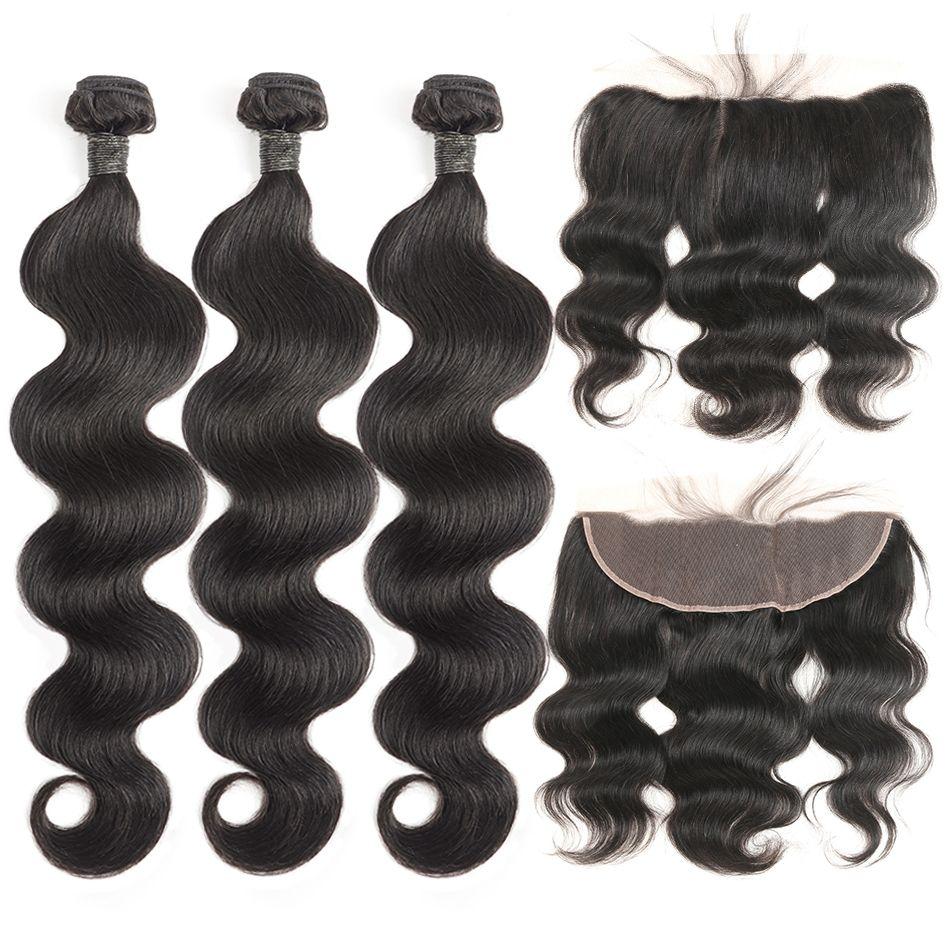 Paquets de cheveux humains avec fermeture frontale de dentelle fermeture brésilienne de dentelle de cheveux de vague de corps avec des paquets 4 pièces cheveux rémy noirs naturels