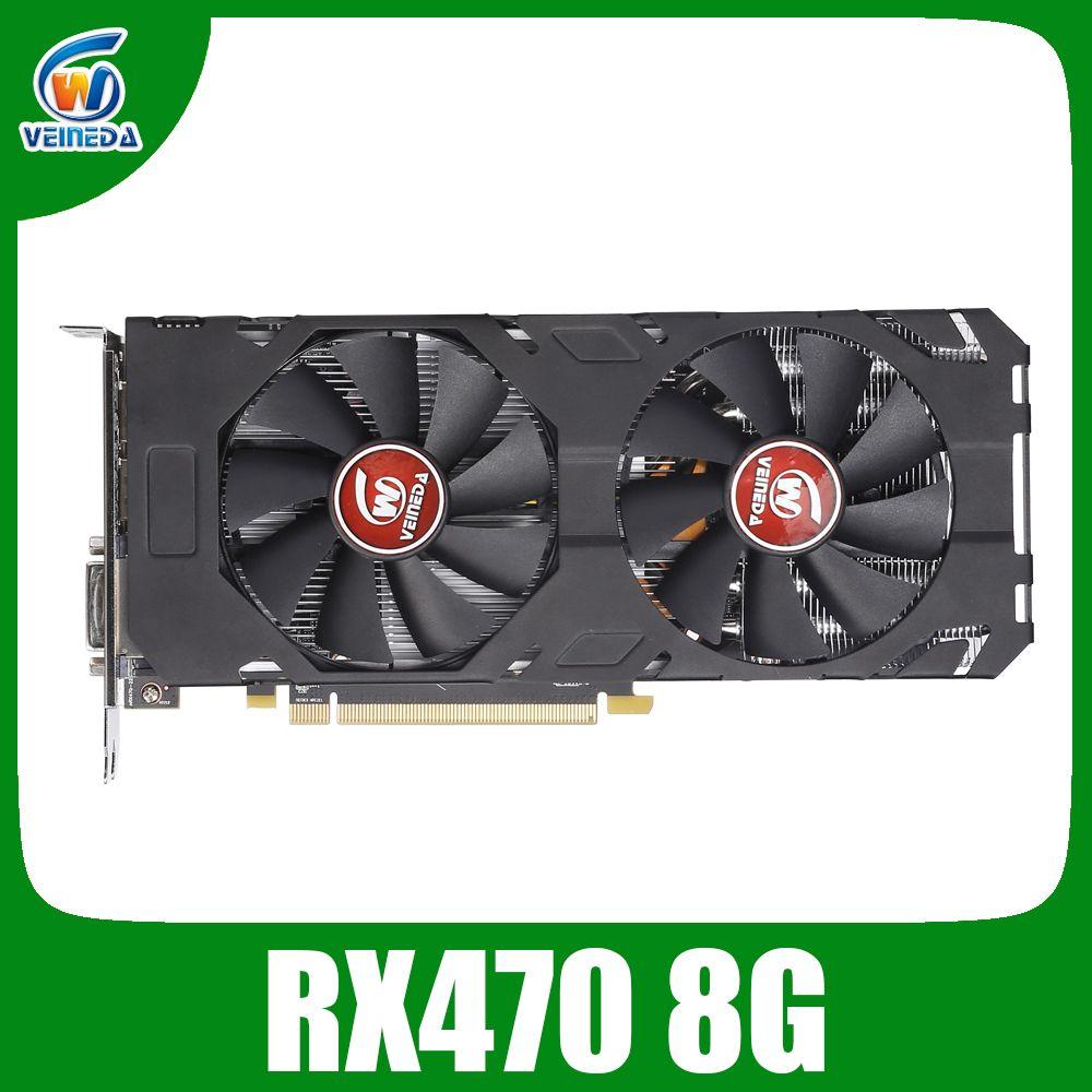 Veineda Video Karte rx 470 8GB 256Bit GDDR5 1244/7000MHz Grafikkarte für AMD Grafikkarte nicht bergbau Kompatibel rx 570 8gb