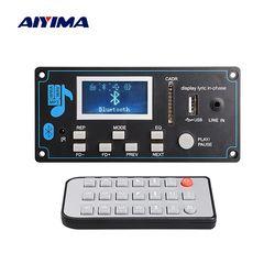 Aiyima 12V LCD Bluetooth MP3 Decoder Papan WAV WMA Decoding MP3 Pemain Audio Modul Mendukung FM Radio AUX USB dengan Lirik Tampilan