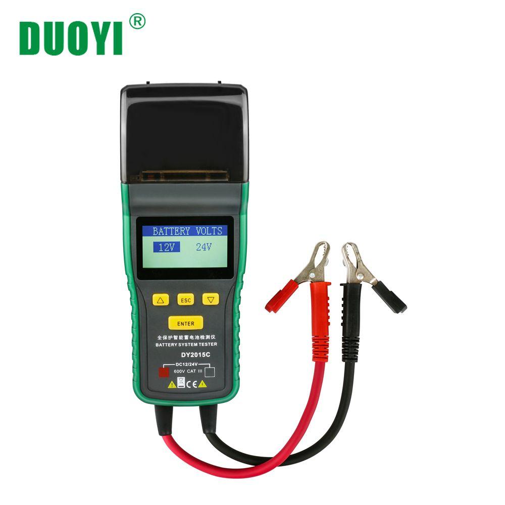 DUOYI DY2015C Auto Batterie Tester 12V 24V Blei-säure Analyzer Auto CCA 100-1700 SOH Integrierte drucker Tragbare Messung Einheit
