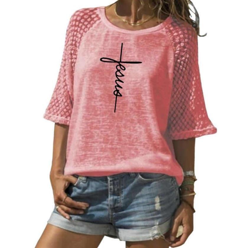 Mode dentelle col rond T-Shirt foi lettres imprimer T-Shirt pour femmes T-Shirt femmes grande taille femme Tumblr drôle été hauts