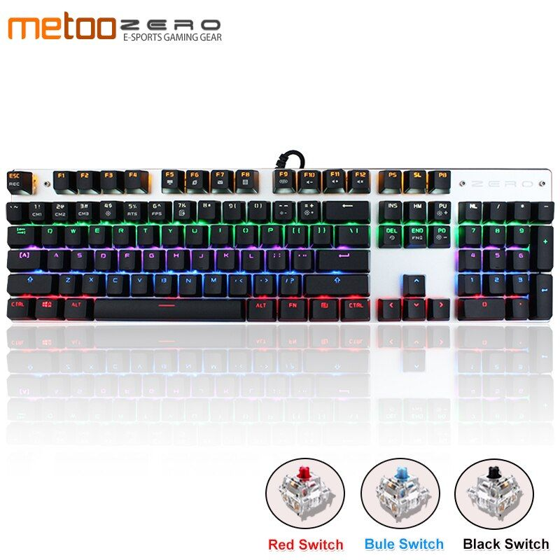 Clavier mécanique de jeu Metoo Original 87/104 touches LED clavier USB rétro-éclairé filaire anglais/russe/espagnol pour ordinateur gamer