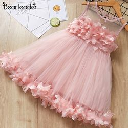 Bear Leader Girls Dress 2019 New Summer Mesh Girls Clothes Pink Applique Princess Dress Children Summer Clothes Baby Girls Dress