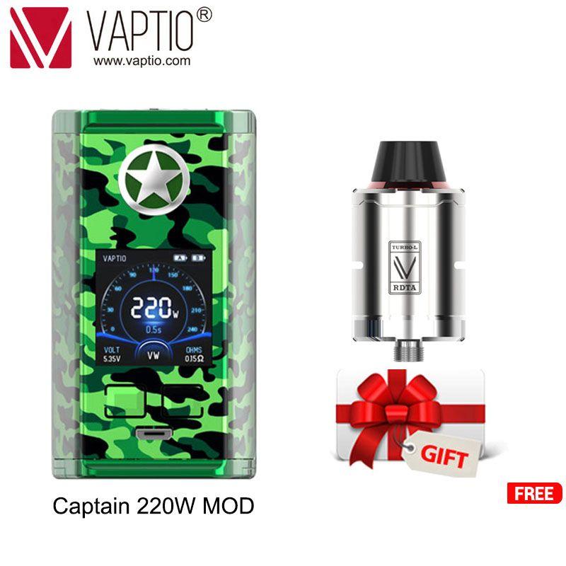 【Prix spécial envoyer tank】 【suivre obtenir plus de discomateur】 vaptio e-cigarette capitaine vape 220w boîte MOD pour 2*18650 batterie 510 fil