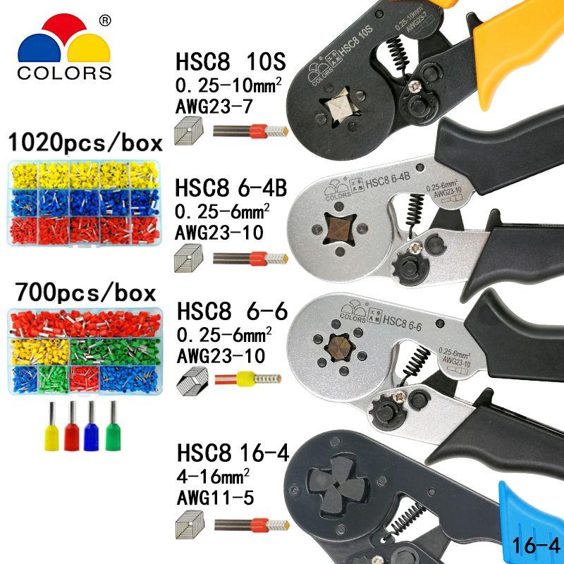 Outils de sertissage pinces bornes tubulaires électriques boîte mini pince HSC8 10S 0.25-10mm2 23-7AWG 6-4B/6-6 0.25-6mm2 16-4 ensembles d'outils
