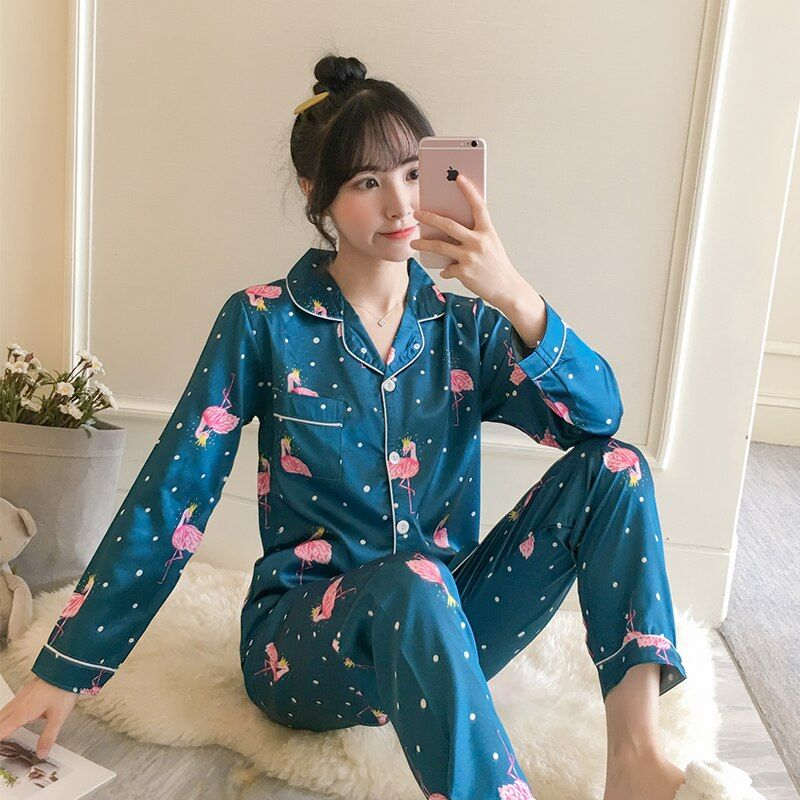2019 Autumn Women's Pajamas Sets with Flower Print Fashion Luxury Female Faux Silk Two Pieces Shirts + Pants Nighties Sleepwear