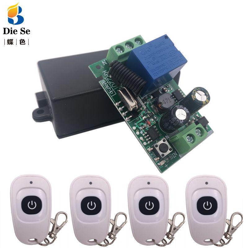 433MHz universel sans fil télécommande AC 110V 220V 1CH RF relais interrupteur et émetteur pour télécommande porte garage contrôle de la lumière