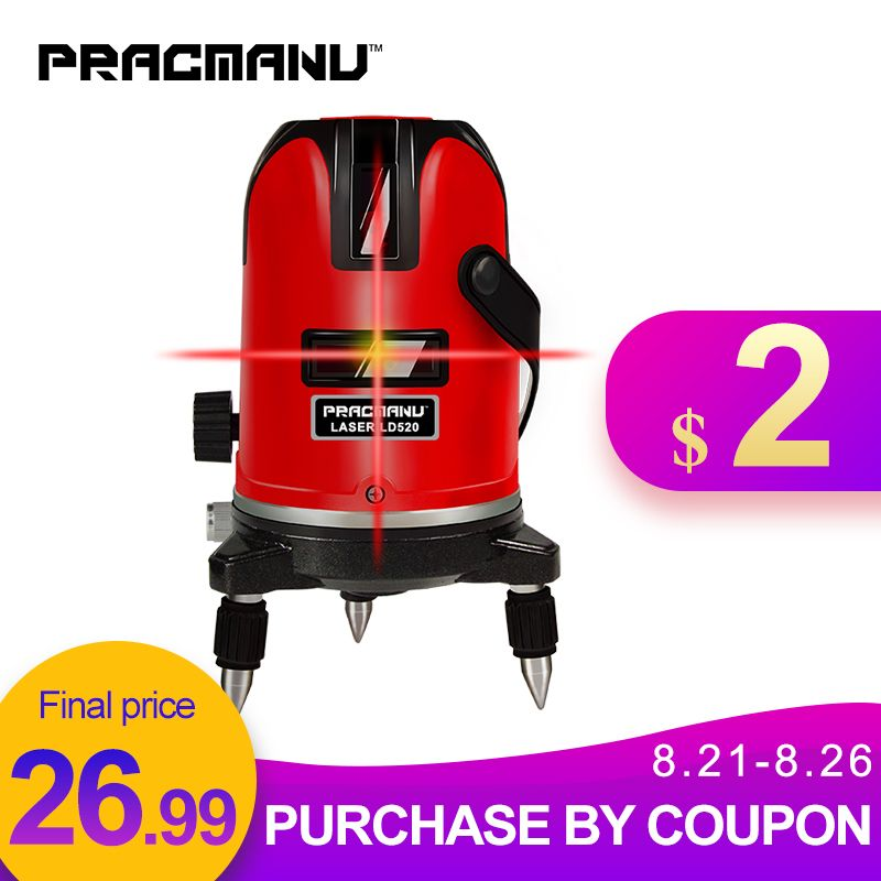 PRACMANU 5 lignes 6 Points niveau Laser automatique auto nivellement 360 degrés d'inclinaison verticale et horizontale rotatif LD 635nm Mode extérieur