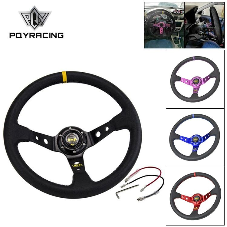 14inch 350MM OMP Steering Wheel PVC Leather Steering Wheel OMP Steering Wheels Deep Corn Dish Wholesale PQY-SW22