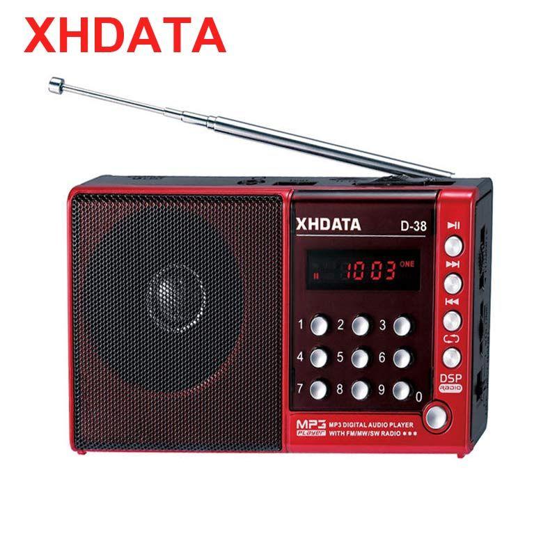 XHDATA D-38 FM Radio stéréo MW/SW/MP3 lecteur écran DSP Vollband Radio Portable (anglais/allemand/japonais/russe manuel d'utilisation)