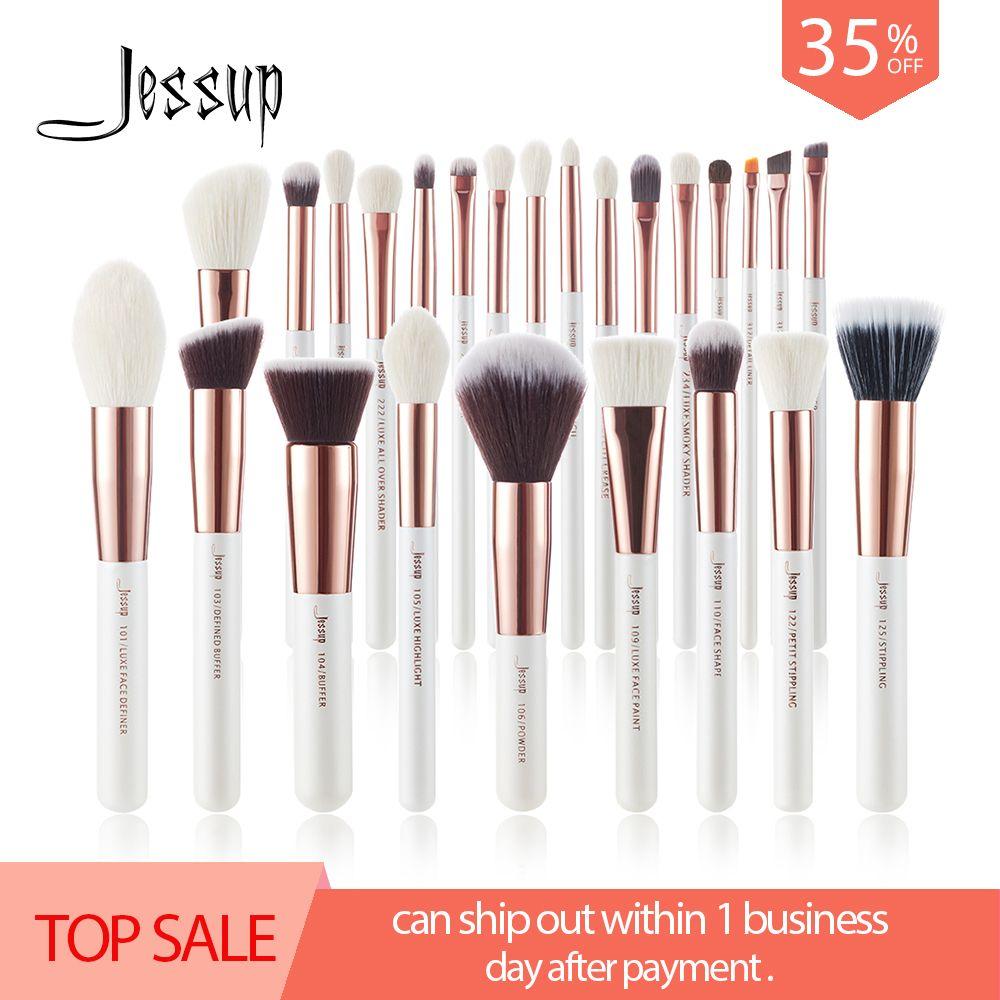 Jessup brosses Perle Blanc/Or Rose Maquillage brosses ensemble Professionnel Beauté maquillage brosse cheveux Naturels Fondation Blushs Poudres