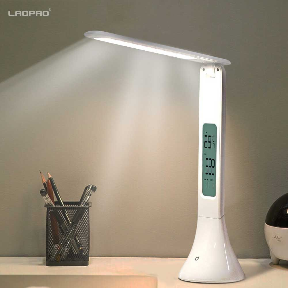 LED Desk Lamp Foldable Dimmable Touch Table Lamp with Calendar Temperature Alarm Clock table Light night lights LAOPAO
