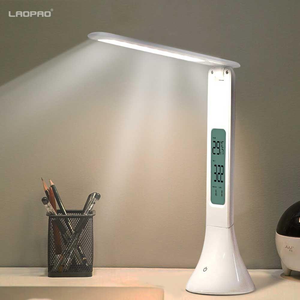 LED lampe de bureau pliable Dimmable tactile lampe de Table avec calendrier température réveil table lumière nuit lumières LAOPAO