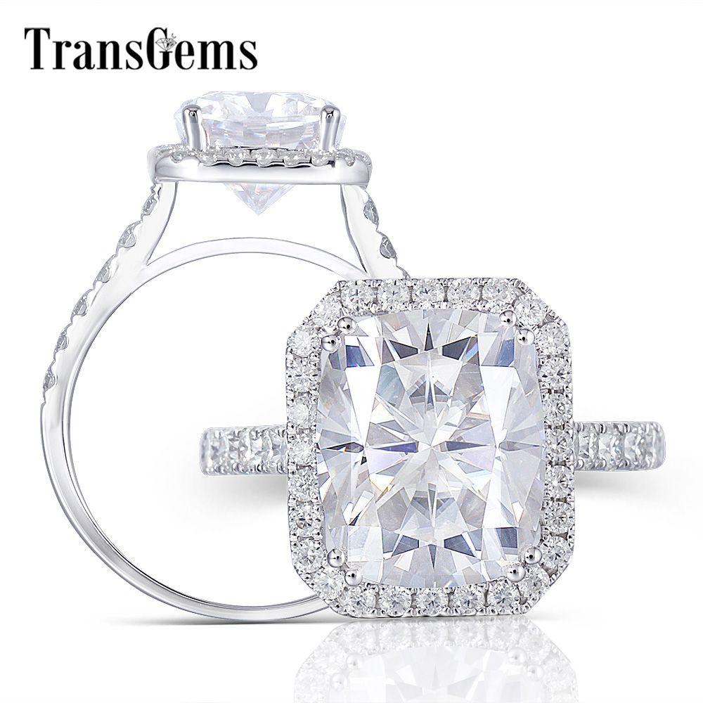 Transgems 14K 585 Weiß Gold Center 5ct Kissen Cut 9X11mm GH Farbe Moissantie Halo Engagement Ring für Frauen Party Anniversity
