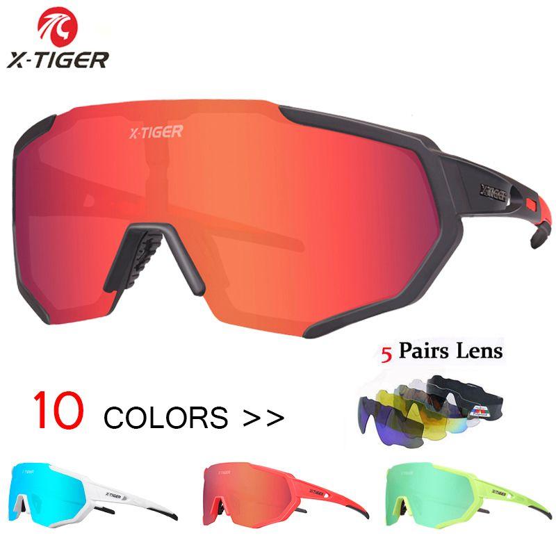 X-TIGER 2019 polarisé 5 lentilles cyclisme lunettes vélo de route cyclisme lunettes cyclisme lunettes de soleil vtt montagne vélo cyclisme lunettes