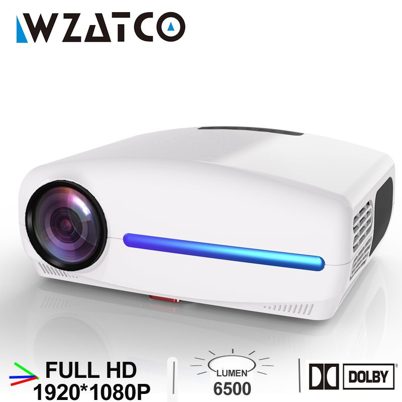 WZATCO C2 1920*1080P Volle HD LED Projektor mit 4D Digitale Keystone 6500Lumen Home Theater Tragbare HDMI beamer LED Proyector