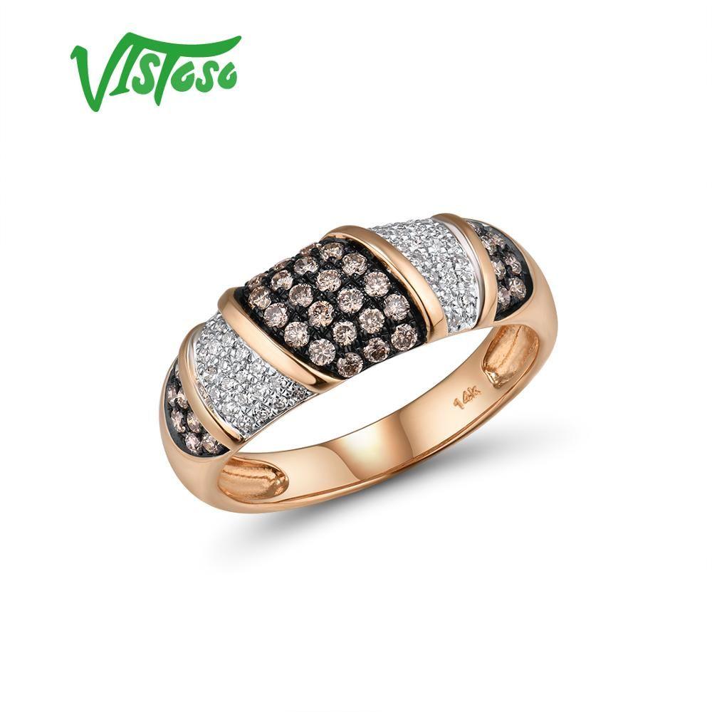 VISTOSO Reine 14K 585 Rose Gold Starry Diamant Braun Diamant Zarte Ring Für Frauen Jahrestag Verlobung Trendy Edlen Schmuck