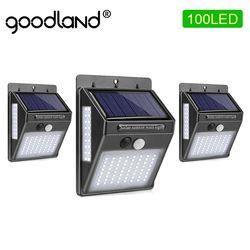 Goodland 100 LED Solar Light Outdoor Solar Garden Lamp PIR Motion Sensor Solar Powered Sunlight Waterproof for Street Decoration